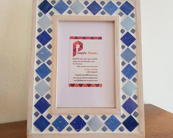 "Blue Photo Frame Mosaic Picture Frame - 6x4"" FREE SHIPPING"