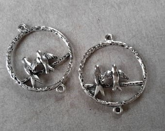 1 pcs connectors birds connector creole frame, silver - 34 x 28 mm