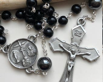 Handmade Catholic Rosary, Men's Rosary, Pewter, Black Obsidian, Hematite, Four-Way Medal Center, Season of Lent, Free Ship USA