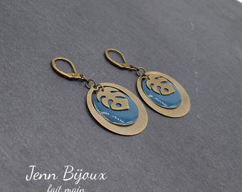 Earrings retro bronze and blue with rings and leaf philodendrons - enamel, sequin