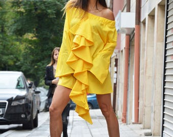 Extravagant Yellow Shirt, Casual Shirt, Loose Tunic Top, Asymmetric Oversize Shirt, Trumpet Sleeves, Modern Tunic by SSDfashion
