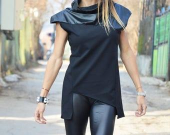 Extravagant Black Leather Long Top, Plus Size Blouse, Fashion Party Sleeveless Top, Asymmetric Blouse by SSDfashion
