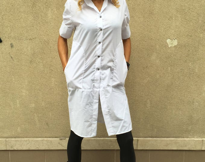 White Soft Cotton Shirt, Extravagant Long Shirt, Maxi Top, Short Sleeves Plus Size, Oversize Top by SSDfashion