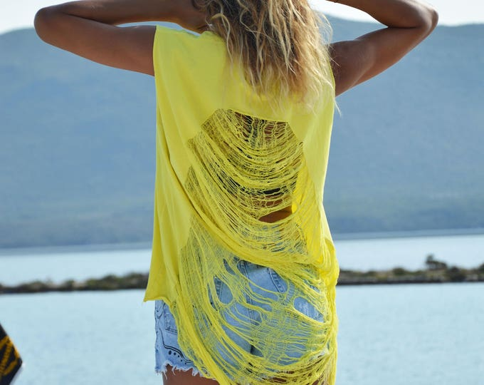 Yellow Cotton Custom Racerback Top, Extravagant Plus Size Clothing, Loose Casual Top, Fashion Blouse by SSDfashion