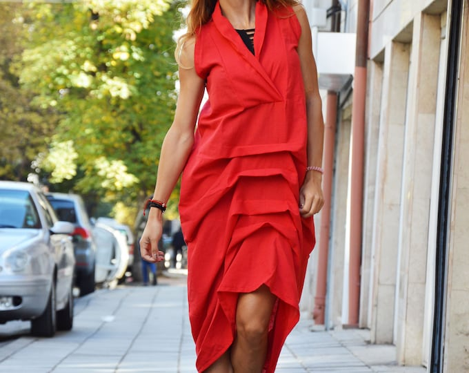 Red Linen Long Dress, Daywear Extravagant Loose Dress, Casual Maxi Dress, Sleeveless Kaftan by SSDfashion