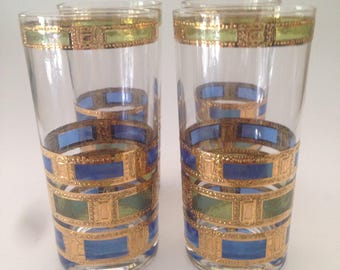 Culver Empress Highball tumblers Drink Glasses Signed 22K Gold Blue Green Gold Trim 1960s