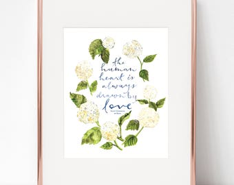 The human heart is always drawn by love, St. Catherine of Siena 8x10 Print
