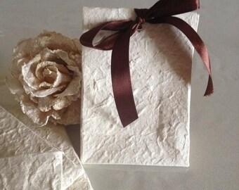 Beige Mulberry paper bag, handmade mulberry bag, ceremony paper bag,sacchetti carta di gelso,m original gift, 10 sacchetti bomboniera