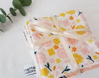 Set of 7 wipes in organic bamboo and organic cotton * wipes for baby or demaquillante