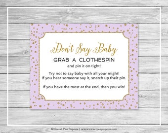 Purple and Gold Baby Shower Don't Say Baby Game - Printable Baby Shower Don't Say Baby Game - Purple and Gold Confetti Baby Shower - SP148