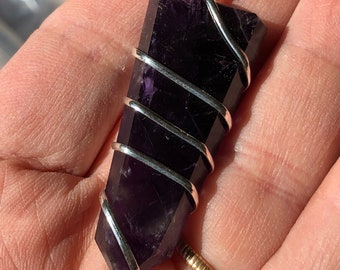 Amethyst Wrapped Pendant - Third Eye - Sixth Chakra - Reiki - Energy Healing