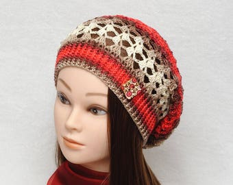 Outdoods gift Beauty gift Coworker gift Travel gift Sun hat Womens Gift Crochet Beanie Slouch Hat Crochet Slouchy Beanie Summer Accessories