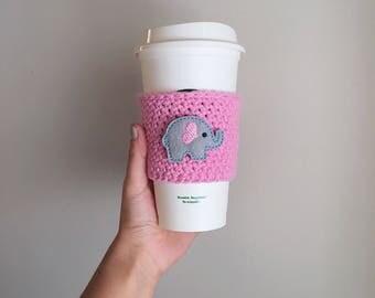 Elephant Lover Crochet Coffee Cozy Gift, Coffee Sleeve, Reusable Drink Sleeve, Mug, Gifts for Women, Sister, Friend, Girlfriend