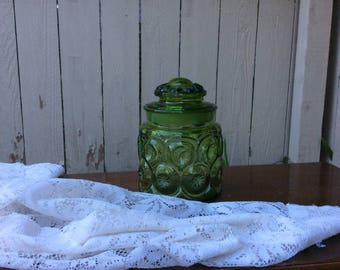 Vintage Green Moon and Stars Jar
