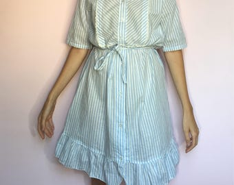 Baby Blue and White Striped Button Down Dress with Lace Details