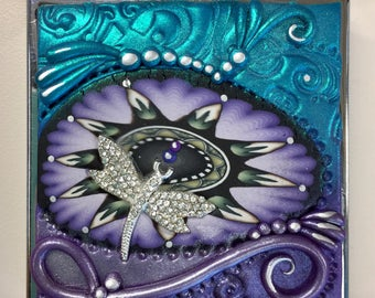 Abstract Purple & Teal Pave Dragonfly Charm Polymer Clay Pill Box, Case, Box, Medicine,