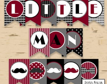 Little Man Birthday or Baby Shower Banner Mustache Party Printables Burgundy Grey Black DIY Printable INSTANT DOWNLOAD LM009