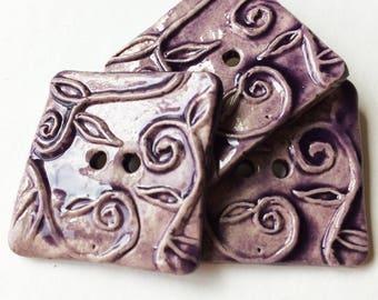 Set of 3 Handmade ceramic buttons art sewing button BTN-18-14