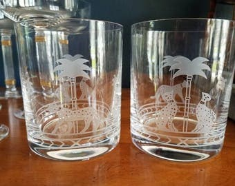 Gorgeous Christian Dior Casablanca tumblers // panther // barware // 1980s // lowball glasses // palm trees // etched glasses // chic