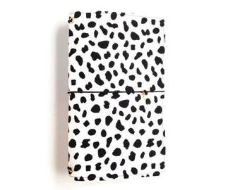 Bullet Journal Cover Black White Fabric Travelers Notebook Midori Cover Fabric Fauxdori Elastic Journal Fabric Midori Gift for Teens SOPHIE