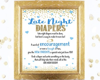 Baby Shower Game - Late Night Diapers Game - Baby Blue Silver Gold - Instant Printable Digital Download - diy Baby Shower Printables BOY