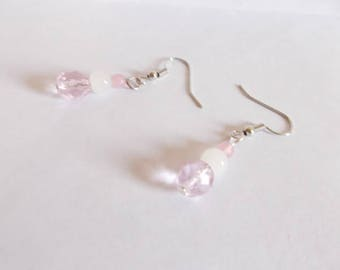 Dangling earrings light pink Czech glass, white glass