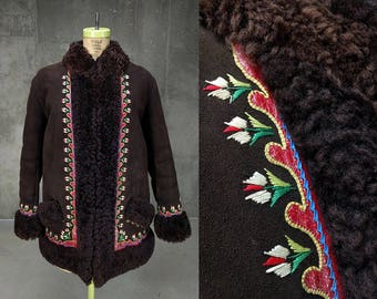 Afghan Sheepskin Shearling Coat • Embroidered Boho Fur Festival Coat • Vintage 1970s • Women's Medium