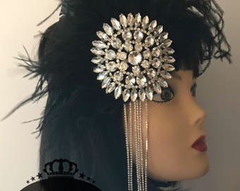 1920s headpiece/Gatsby headpiece/Wedding headpiece/Rhinestone headpiece/flapper headpiece/Bridal accessories/Wedding accessories/Diamond