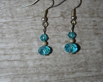earrings with turquoise Crystal beads