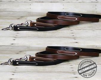 Handmade Professional Dog Training Genuine Leather Lead | Training 6' Foot Leather Leash | Made in USA
