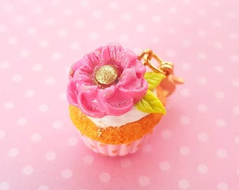 Cupcake Charm or Necklace - Polymer Clay Food Cupcake Charm - Miniature Food Jewelry - Flower Cupcake Charm