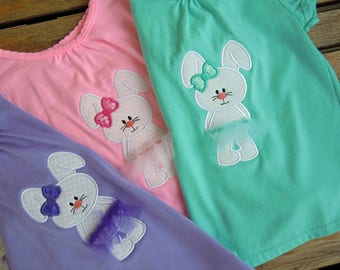 Baby Toddler Girl Easter Bunny Tee, Girl's Easter Outfit, Little Girl Bunny Top, Size 3T