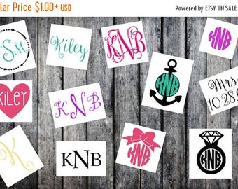ON SALE Custom Monogram Decal Sticker, Custom Name Sticker, Monogram Sticker, Monogram Decal, Monogram Car Decal, Car Decal, Cell Phone Stic