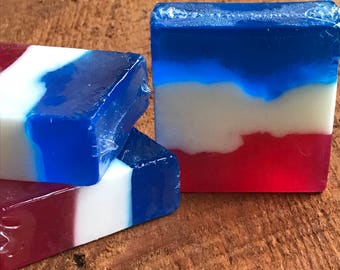 Red, White and Blue 4th of July Bar Soap | Patriotic Soap | 'merica Soap