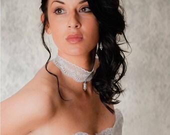 White wedding lace bridal necklace