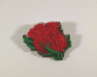 Beaded Rose Brooch, Enchanted Red and Green Pin / Brooch, Valentine's Day, Mother's Day Jewelry, Red and Green Off Loom Style, Flower Pin