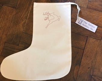 Stag Stocking Embroideed Reindeer Stocking Cotton Stocking Medium Small Stocking Rustic Stocking Gift Bag