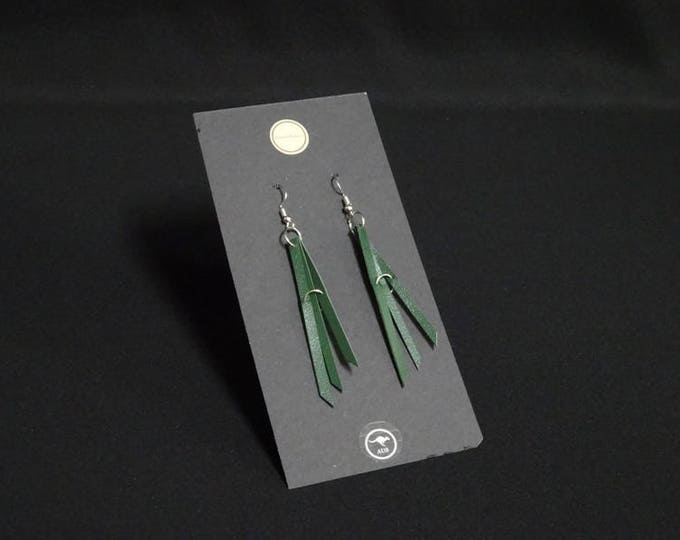 Triple Earring - Green - Handmade in Australia using genuine Australian kangaroo leather.
