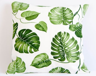 Monstera pillow cover, plant print cushion cover, botanical pillow case,  green and white throw pillow cover, leaf pillow cover