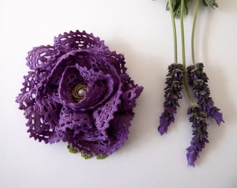 Lavender flower brooch made from hand dyed crochet, repurposed