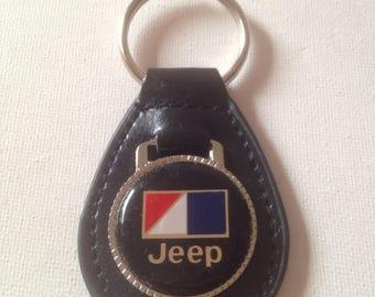 Jeep American Motors Keychain Black Leather AMC Key Chain