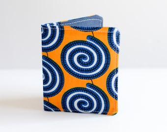 Slim Wallet - Thin Wallet - Navy Wallet - Bi-fold Wallet -African Print Wallet - Card Holder - Handmade Wallet - minimalist wallet -