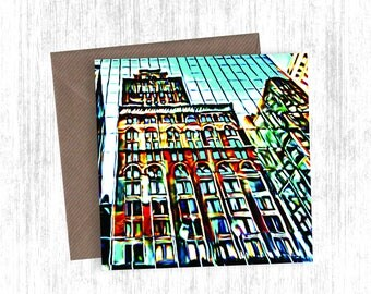 City Reflection Painting Artwork Card Set of 1, 3, 5, 10 or 20 - Holiday Cards - Christmas Cards - Greetings Cards - Version 2
