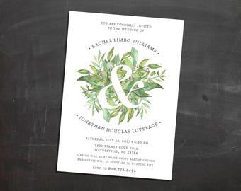 Green Floral Wedding Invitations {deposit}