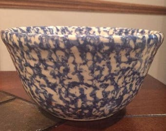 Vintage Friendship Pottery (FP) Blue Spongeware Small 3 Cup Bowl. ID# 22-26