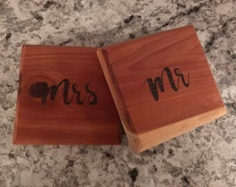 Cedar Coasters, Mr and Mrs, Set of 2