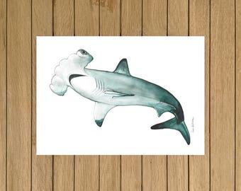 """Hammerhead Shark, Shark, Watercolor Illustration, Giclée Print, Home Decor, Kids Room, Nursery Decor, A5, 8.5""""x11"""", A4, A3, 13""""x19"""""""