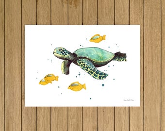 Sea Turtle, Ocean, Watercolor Illustration, Giclée Print, A3 A4 or A5 size