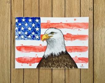 Golden Eagle, American Flag, Original Watercolor Illustration, A5 size