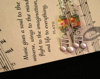 Musical Charm Earrings, Square Millefleurs Glass Beads, Music Charm, Music Lovers Gift